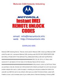 Motorola C289 Subsidy Unlocking by ...