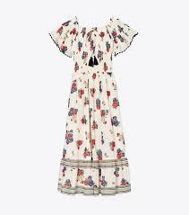 printed smocked dress women s clothing