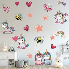 Amazon Com Supzone Unicorn Wall Stickers Cute Butterfly Bee Rainbow Girls Room Wall Decals Vinyl Removable Baby Nursery Bedroom Kids Living Room Wall Decor Kitchen Dining