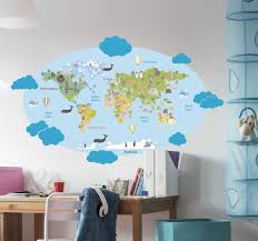 Amazing World Map Decals For Childrens Rooms Tenstickers