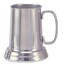 bright aluminum tankard beer mug clear