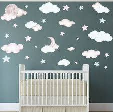 30 Baby Nursery Bedroom Sky Cloud Wall Sticker Decals Colour Options 7 83 Picclick