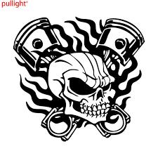 Attractive Skull Skeleton Piston Racing Flame Car Truck Window Laptop Vinyl Decal Sticker Vinyl Decals Stickers Decal Stickerlaptop Vinyl Aliexpress