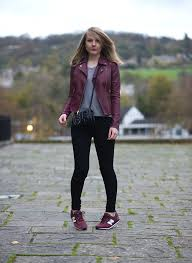 guess red leather jacket skinny jeans