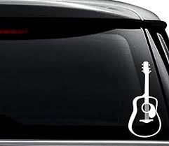Amazon Com Acoustic Guitar Decal Sticker For Use On Laptop Helmet Car Truck Motorcycle Windows Bumper Wall And Decor Size 6 Inch 15 Cm Tall Color Matte White Arts Crafts Sewing