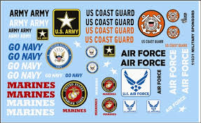 Armed Services Decal Sheet Model Car Decals 1 24 1 25 Scale Decals