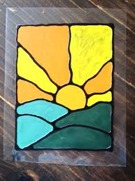 fake stained glass made with glue and