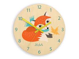 Kids Wall Clock Fox Autumn With Personalizen Name Wood Clock Large Clock Kids Clock Childrens Clock Kids Room Wall Art Woodland