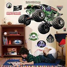Amazon Com Birthdayexpress Monster Jam Room Decor Grave Digger Giant Wall Decals Home Kitchen