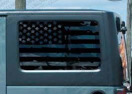 Product Distressed Usa Flag For Window Vinyl Decal Jeep Wrangler Jk 2 Door