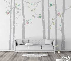 Birch Tree Wall Decal With Owls Butterflies And Birdhouse Etsy