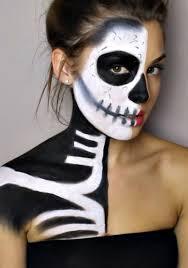 easy skeleton half face makeup