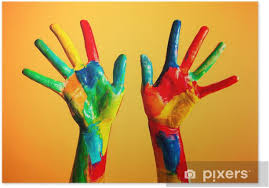 Painted hands, colorful fun. Creative, funny concepts Poster • Pixers® - We  live to change