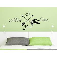 Shop Quotes I Love You More Arrow Quote Art Home Decor Feather Arrows Fashion Bohemian Bedroom Sticker Decal Size 48x65 Color Black Overstock 14204190