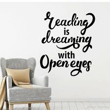 Reading Room Vinyl Wall Sticker Library Wall Decal Quote Saying Leading Is Dreaming With Open Eyes Bookstore Wall Stickers Wall Decals For Sale Wall Decals For The Home From Joystickers 14 47 Dhgate Com