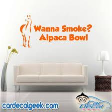 Wanna Smoke Alpaca Bowl Vinyl Car Truck Decal Sticker