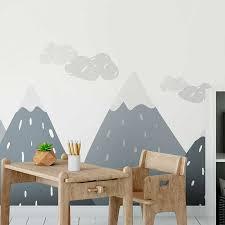 Nordic Mountain Wall Sticker Kid Decal Nursery Home Decor Gray Mix Diy Art Mural Ebay