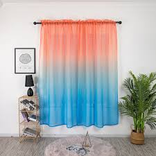 Wholesale Gradient Color Window Curtain Tulle For Home Bedroom Living Room Kids Room Balcony Orange Red Blue Gradient 1 2 Meters High From China