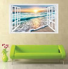 3d Fake Window Sunrise Ocean Beach Wall Sticker Vinyl Mural Decal Wallpaper For Sale Online