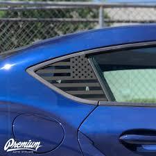 Pre Cut American Flag Rear Quarter Window Decal Set Satin Black Satin Grey 2020 Toyota Supra Premium Auto Styling