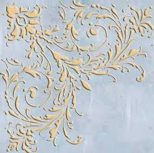 large feathered corner wall stencil