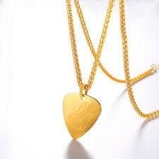 guitar pick pendant necklace 18k gold