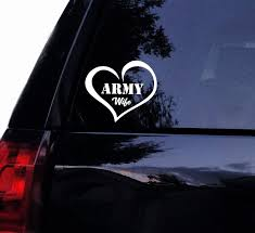 Amazon Com Tshirt Rocket Army Wife Love Decal Sticker Military Wife Heart Soldier Vinyl Car Decal Laptop Decal Car Window Wall Sticker 6 White Automotive
