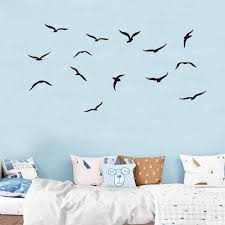 Amazon Com Flock Of Birds Flying Wall Decals Seagulls Bird Wall Stickers Seabirds Peel And Stick Wall Art Vinyl Removable Mural For Office Window Living Room Porch Door Back Kitchen Bedroom Diy Arts