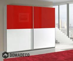 red and white free standing wardrobe