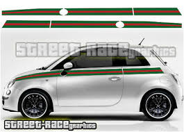 Fiat 500 Side Racing Stripes 033 Gucci Style Decals Vinyl Graphics Stickers Ebay