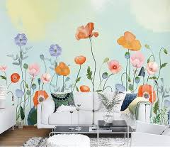 Hand Painted Fresh Flowers Wall Murals Wall Stickers Warm Color Wallpaper For Bedroom Living Room Garden Floral Wa Floral Wall Decor Wall Murals Floral Wall