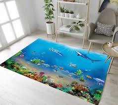 Area Rugs Underwater World Fish Shark Bedroom Carpet Child Room Floor Rug Mat Ebay