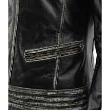 women distressed black leather jacket