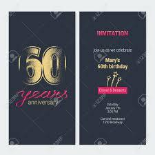 60 Anos Aniversario Invitacion Vector Ilustracion Plantilla De