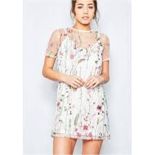 Iva White Overlay Floral Embroidered Shift Dress Women GF4KKQXGO