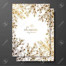 Plantillas De Tarjetas Florales De Oro Con Plantas Abstractas