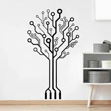 Circuit Tree Geek Computer Science Vinyl Wall Decals Art Sticker Removable Decor Ebay