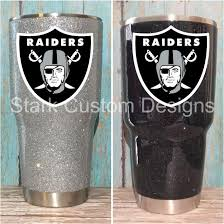 Oakland Raiders Inspired Glitter Tumbler Yeti Rtic Or Ozark 30 Oz Or 20 Oz Sealed Decal By Starkcustomdesigns On Etsy Glitter Tumbler Tumbler Raiders