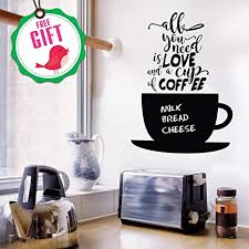 Amazon Com Chalkboard Coffee Wall Decals Quotes For Kitchen Perfect Blackboard Coffee Lovers Gift Stickers Best Fridge Cup Vinyl Art With Bonus Kitchen Dining