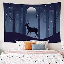Amazon Com Leowefowas Deer In Night Forest Tapestry Baby Kids Room Wall Hanging Modern Home Decoration Living Room Bedroom Wall Tapestry 59 1 X35 4 Home Kitchen