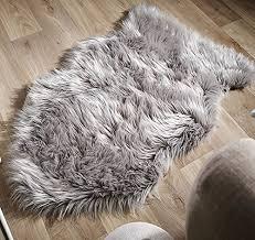 faux fur sheepskin rug light grey