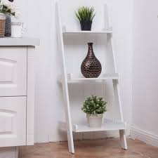 3 tier leaning wall ladder book shelf