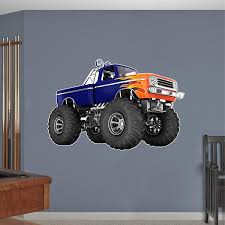 Amazon Com Monster Truck Wall Decal Vinyl Graphic Sticker Cartoon Car Truck Decal Grave Digger Flames Bigfoot Ford Kids Den Man Cave Boys 48 Home Kitchen