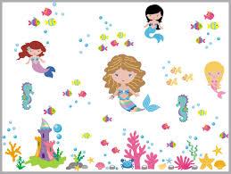 Mermaid Wall Decals Sea Ocean Nursery Decals Girls Mermaids Themed Nurserydecals4you