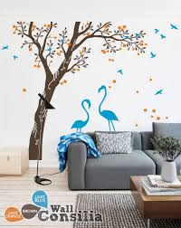 Beautiful Flamingos Under Large Tree With Blossomswallconsilia Com