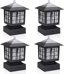 Kmc Lighting Ks101x4 Outdoor Solar Post Fence Paveway Pathway Square Lights 4 Pack With 4 Inch Fitter Base Outdoor Garden Post Pole Mount 4 88x4 88x7 48 Amazon Com