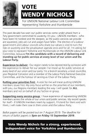 John's Labour blog: Vote Wendy Nichols for UNISON National Labour Link  Committee representing Yorkshire & Humberside