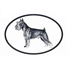 Dog Breed Oval Vinyl Car Decal Black White Sticker Schnauzer 754888980434 On Ebid United States 173373147