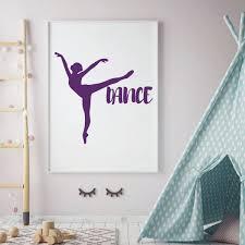 Dancing Ballerina Vinyl Wall Decal For Young Girl Or Teen Dancer Bedroom Customvinyldecor Com