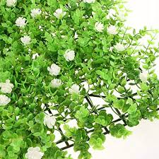 Non Brand Seedling With Flowers Realistic Green Plant Panels Artificial Hedge Fence Privacy Screen Lawn 23 62